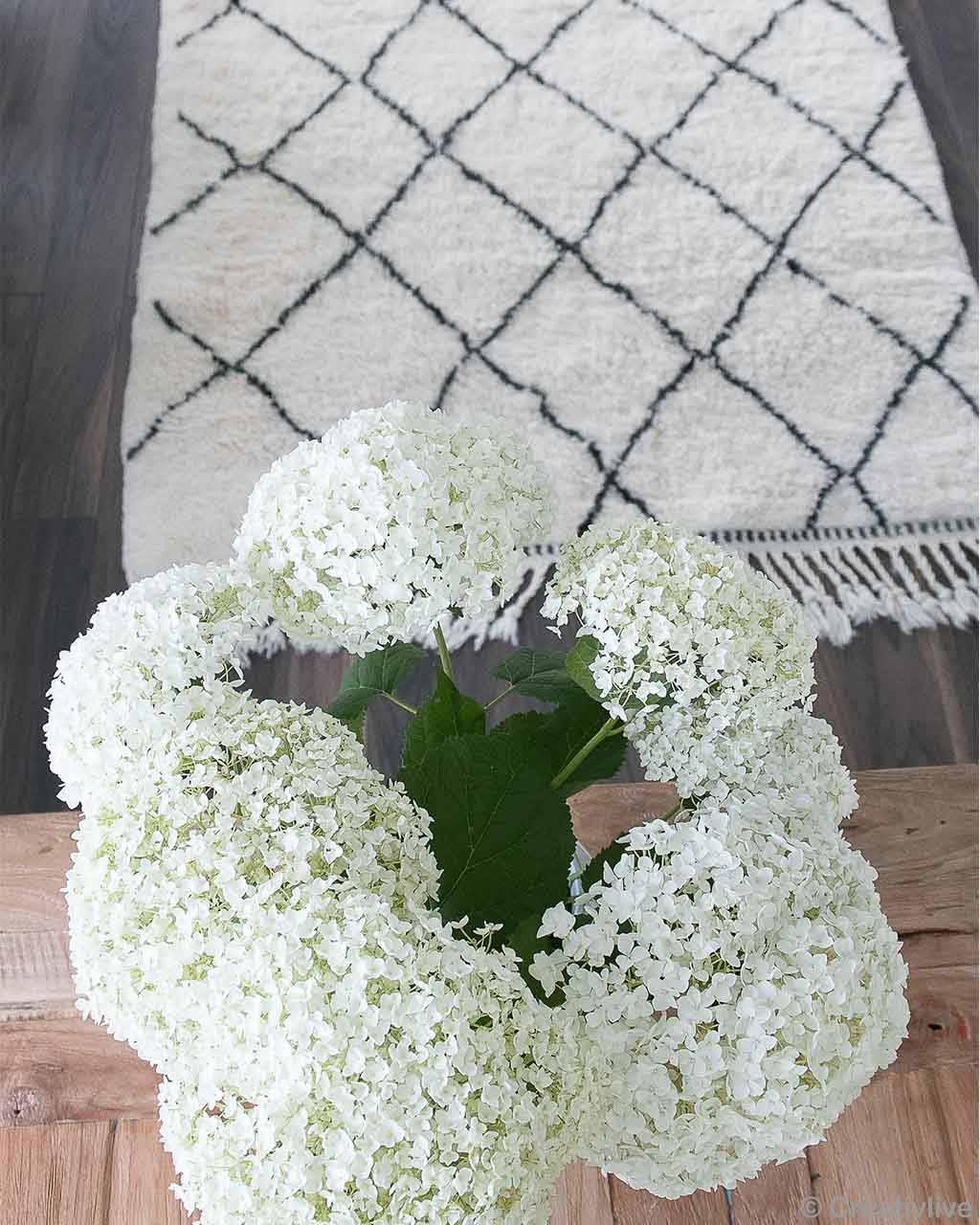 plant with white flowers morocco designer beni ourain area rug