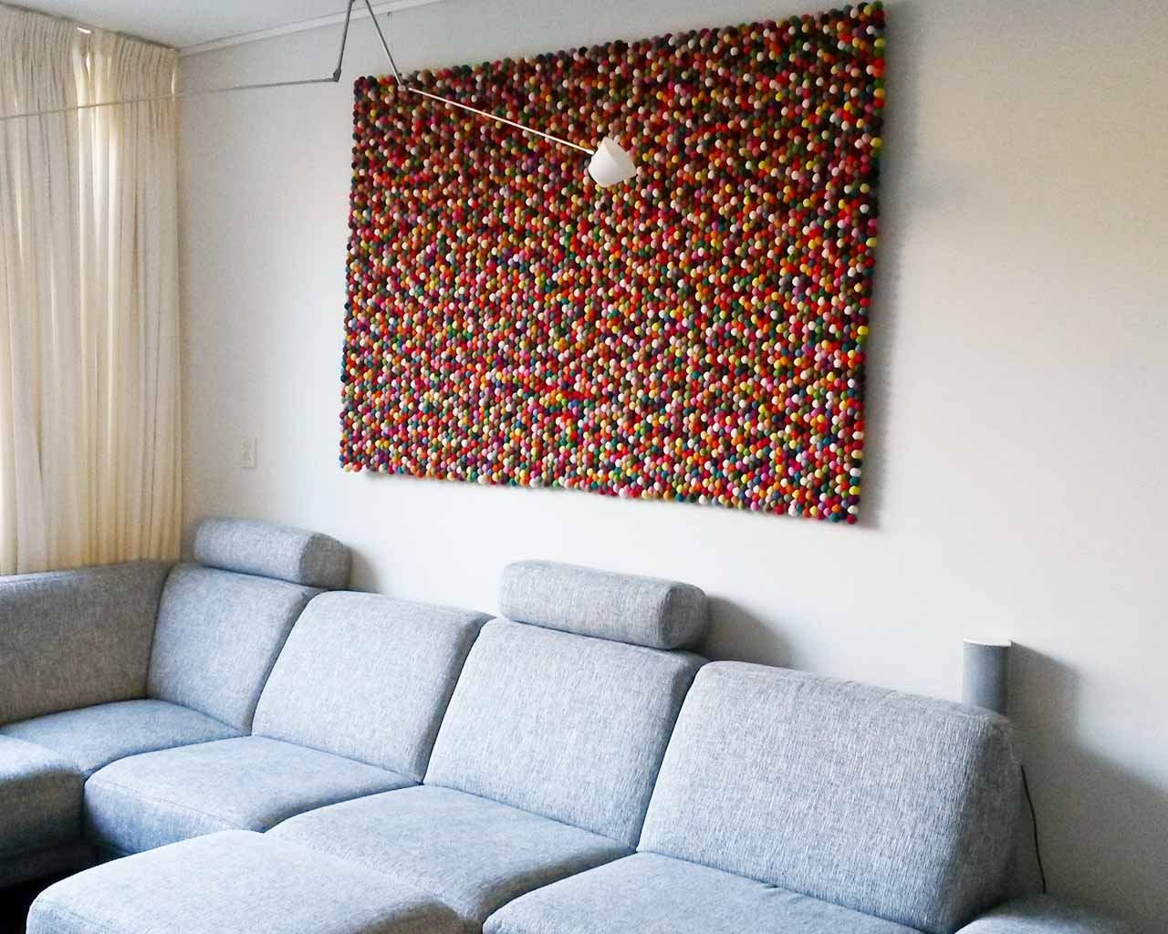 felted wool carpet on wall multi colour