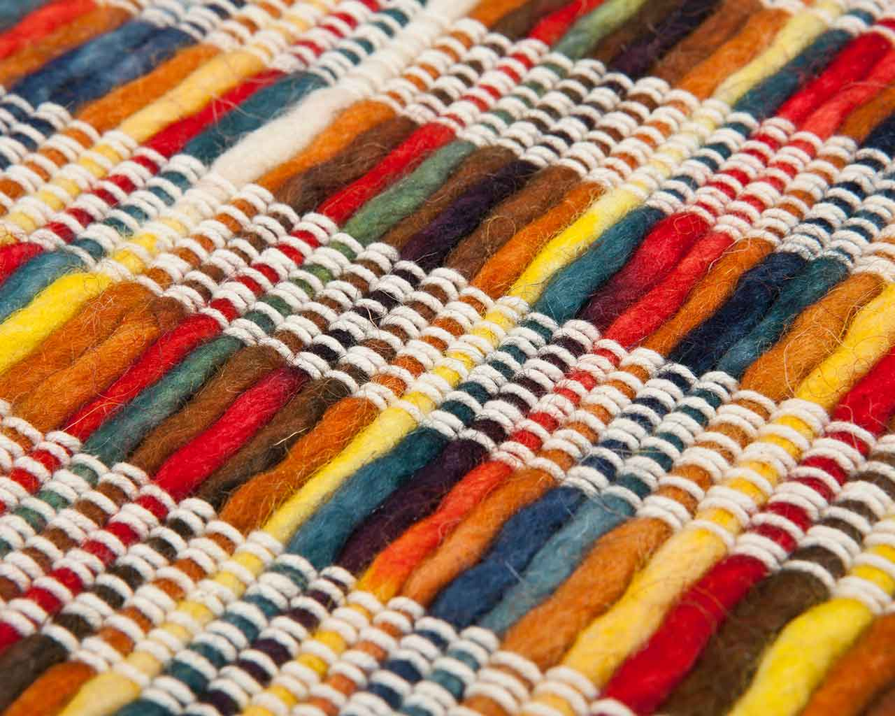 handwoven carpet close up material durable clean rainbow style unique sukhi white wool vibrant 1