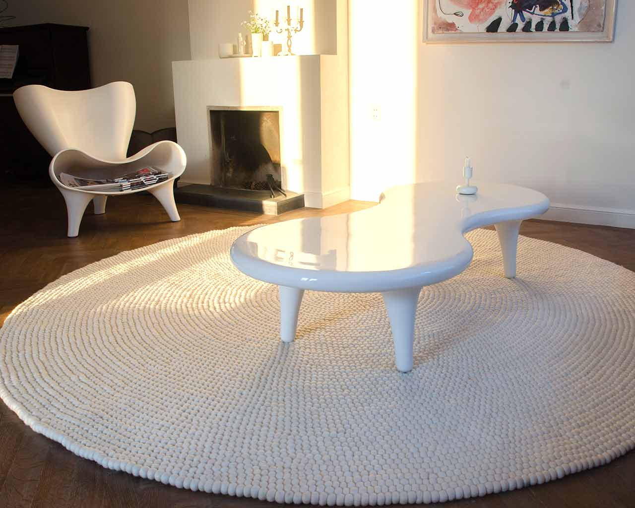 design house white table 200cm rug
