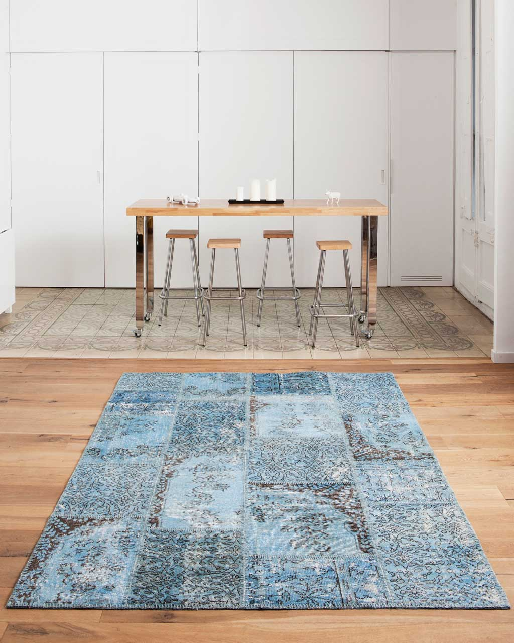 custom overdyed patchwork carpet