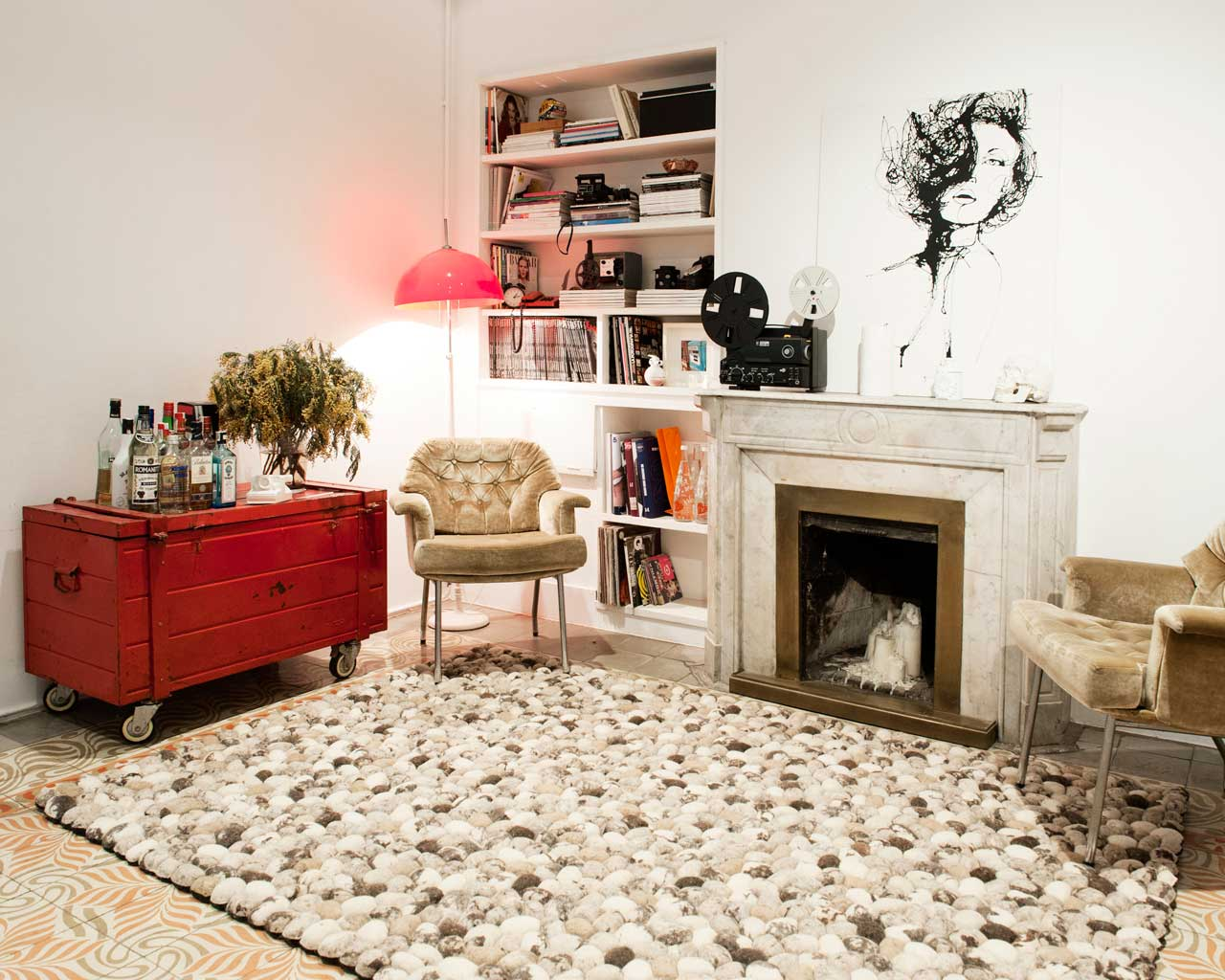 white red carpet fireplace family