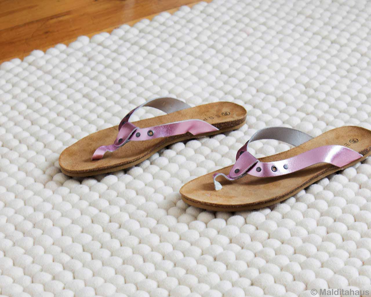 slippers fashion white carpet wool felted 1